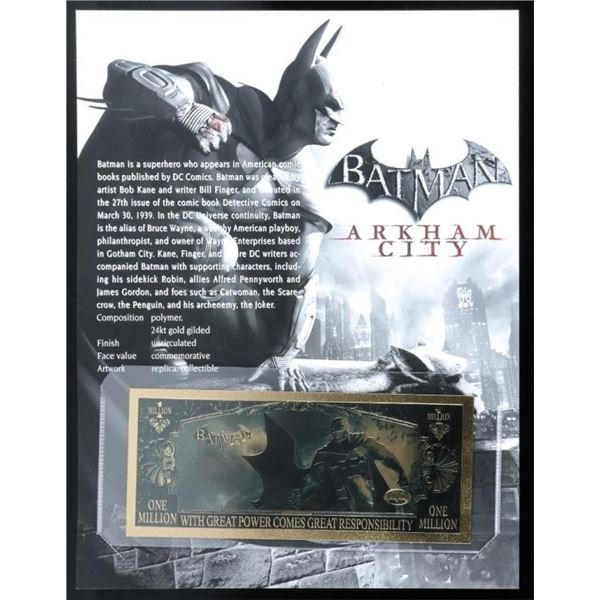 Batman 24kt Gold Gilded Million Dollar  Collector note with Giclee Art Card