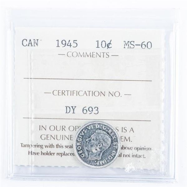 1945 CANADA 10 Cents MS60 ICCS