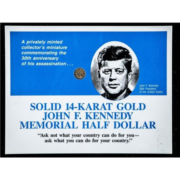 Solid 14 Karat Gold JFK Memorial Half Dollar