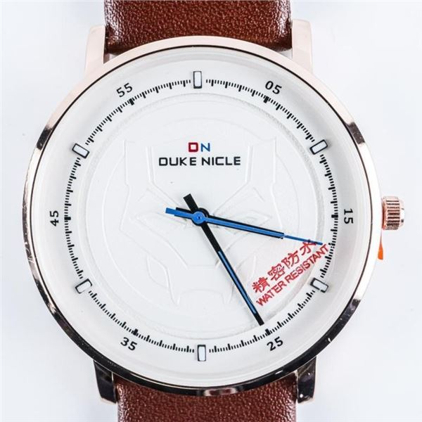 Duke Nicle - Gents Quartz Watch, Black Dial  Leather Band
