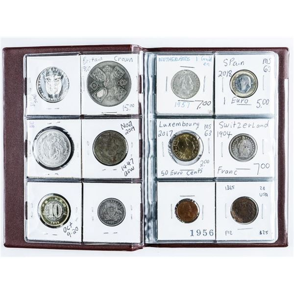 Coin Stock Book with (24) World Coins  Includes Many Silver Issues