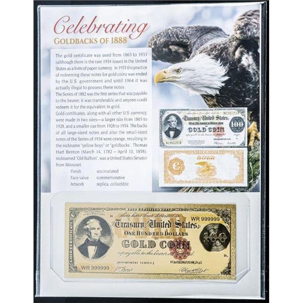 Goldbacks of 1888 24kt Gold - 100.00  Certificate Gold Coin (Replica)
