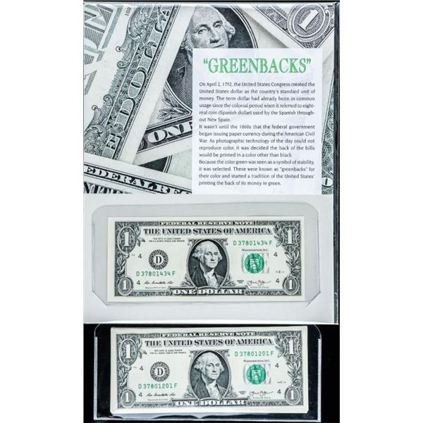Greenbacks C1972 Lot (11) Series 2013 USA  1.00 - 10 In Sequence UNC From Brick
