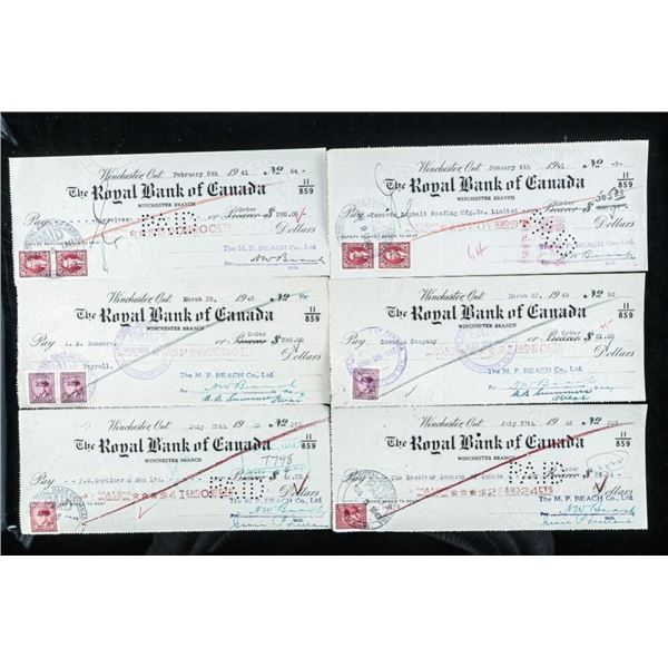 Group of (3) Vintage Checks, with Excise  Stamps 1940's