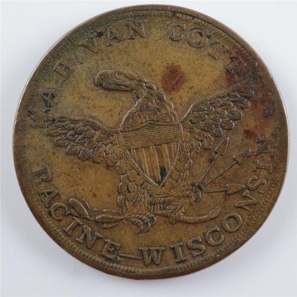 1850's Racine Wisconsin Merchant Token 'AB  VAN Cott' Pocket Watch