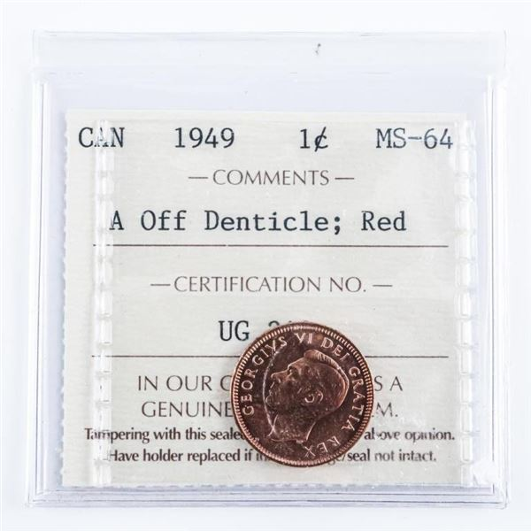 1949 Canada One Cent ICCS MS64 Red A Off  Denticle