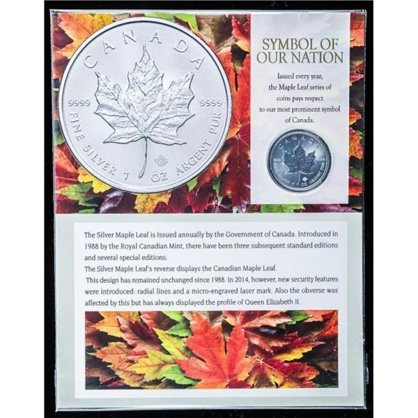 Symbol of Our Nation 2013 .9999 Fine Silver  $5.00 Maple Leaf Coin with 8x10 Art Card  Display