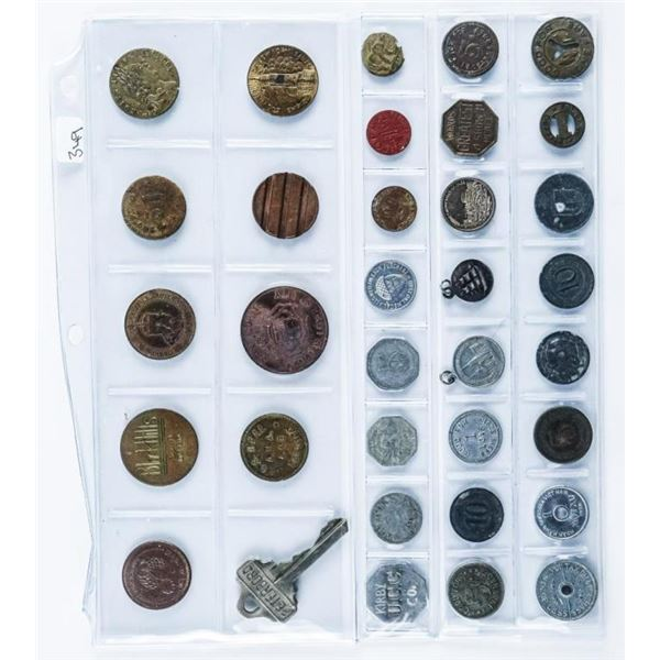 Group of (34) Vintage Tokens 'World'