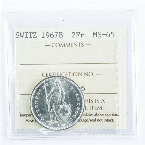 Switzerland 1967B 2FR. Silver MS65. ICCS