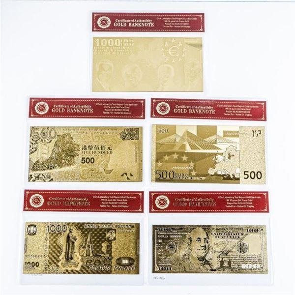 Group of (5) 24kt Gold Leaf, Collector  Banknotes