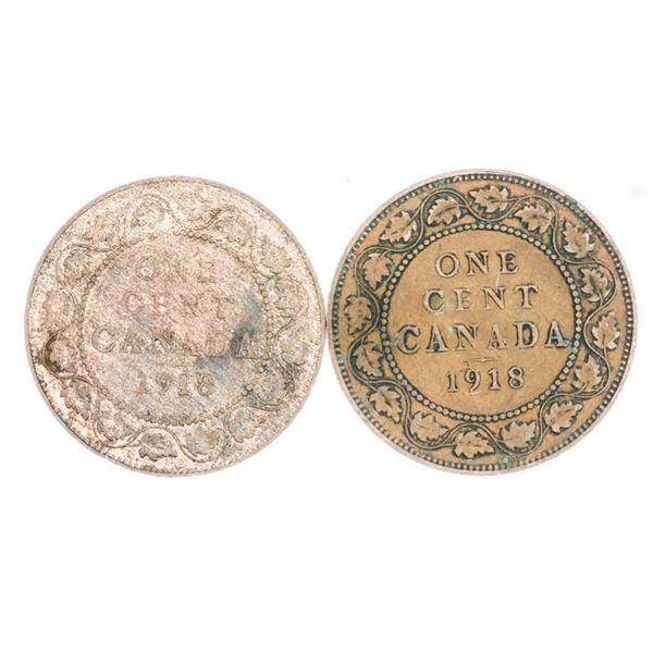 Lot (2) George V 1918 Large Cent (697)