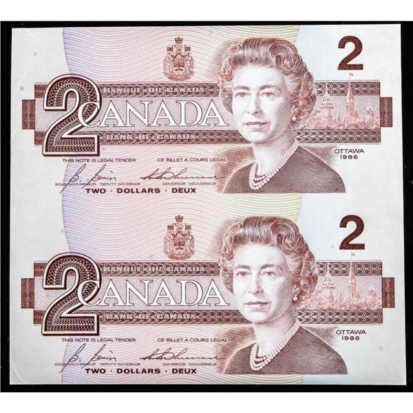 Bank of CANADA UNCUT Sheet (2) x 1982 2.00  Cased