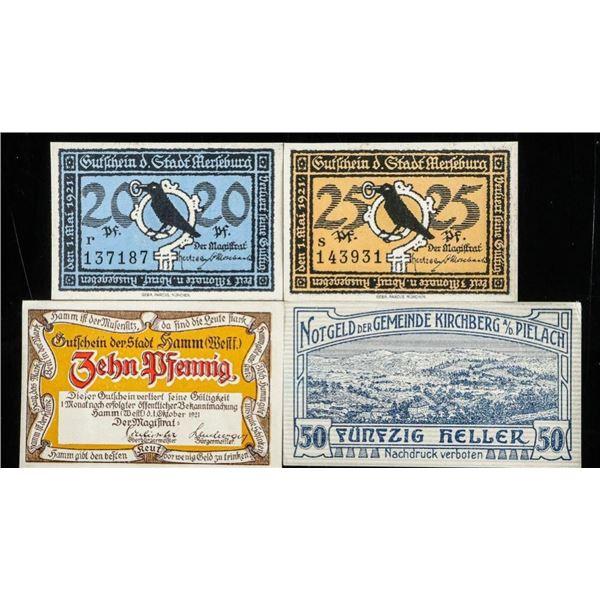 Group of (4) German/Austria Notgeld Notes
