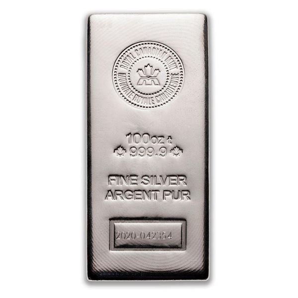 Premier - Royal Canadian Mint 100oz Fine Silver Bar. Very Collectible.