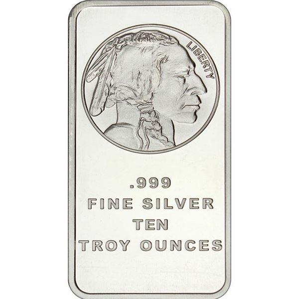 USA - .999 Fine Silver Indian Head/Buffalo 10oz Bar. Collectible.