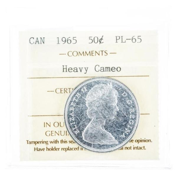 1965 Canada Silver 50 Cent PL65. Cameo ICCS