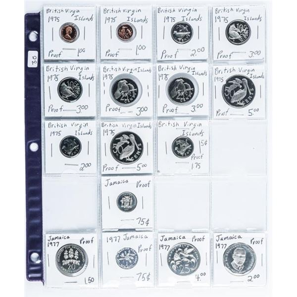 Group of (16) British Virgin Islands and  Jamaica Proof Coins