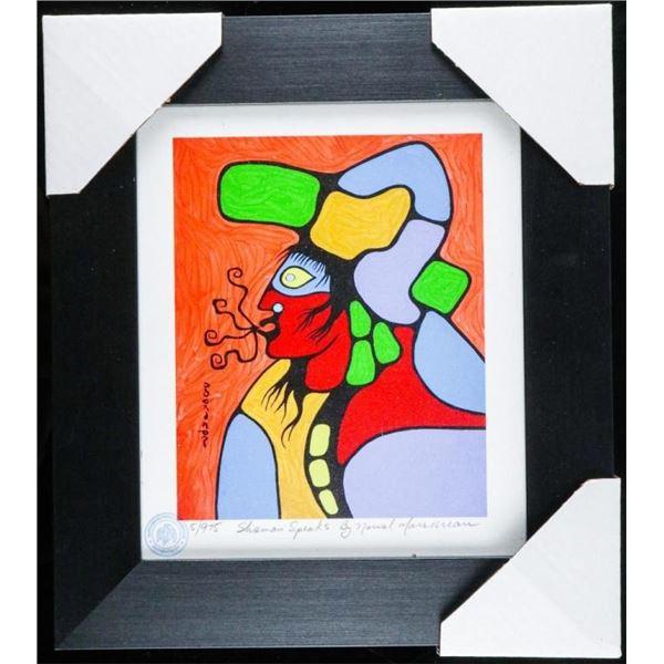 """Norval Morrisseau (1931-2007) 'Shaman  Speakers' Studio Litho/Panel Framed 14x13"""""""