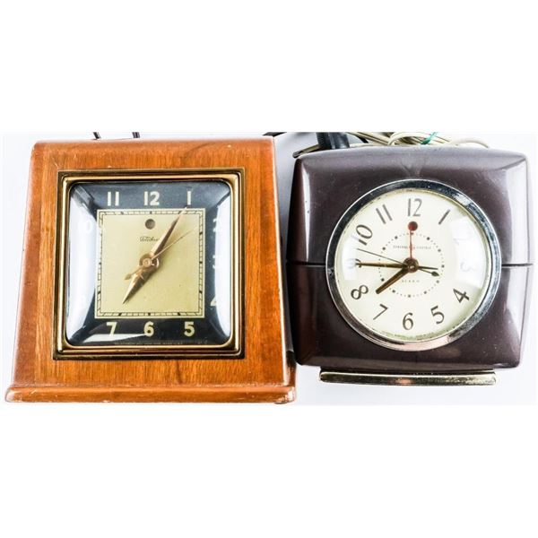 Group (2) Vintage Electric Clocks (G.E.  Ceramic Case) - is working. Telechon - Wood  Case Not Worki