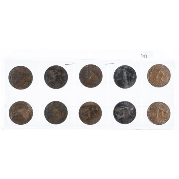 Lot (10) British One Penny Coins - Estate Lot