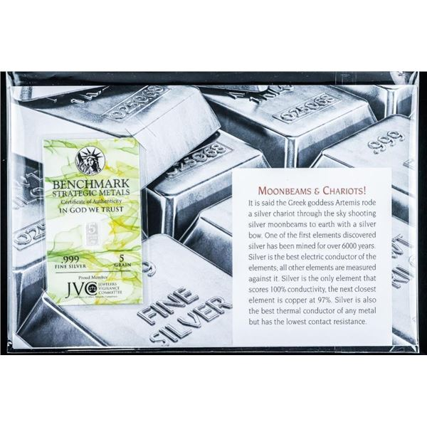Moonbeam and Chariots Bullion .999 Fine  Silver Bar - Serialized with Giclee Art Card