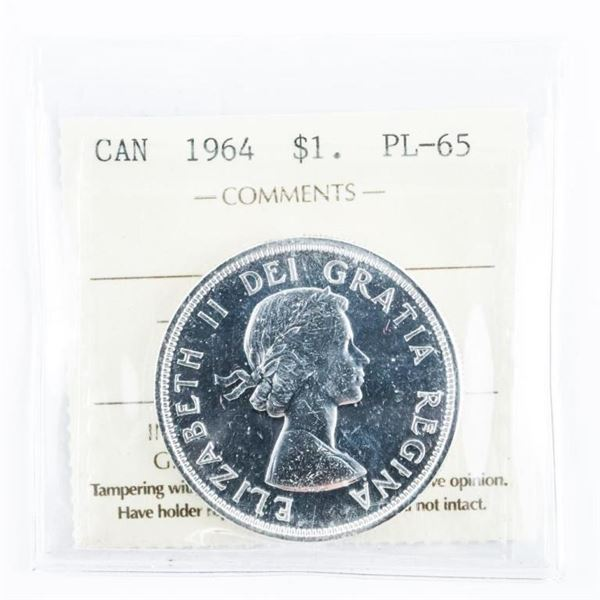 1964 CANADA Silver Dollar PL-65. ICCS