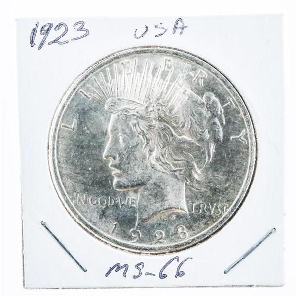 1923 USA Silver Peace Dollar MS66