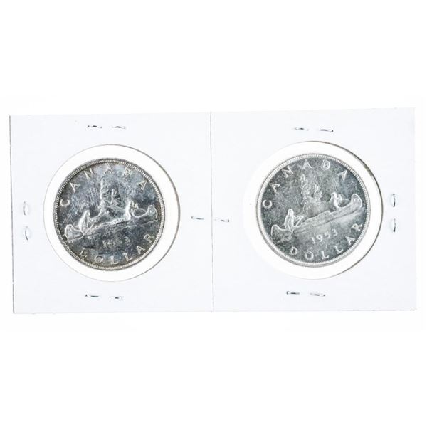 Lot (2) CANADA 1953 Silver Dollar - N.S.S. and S.S