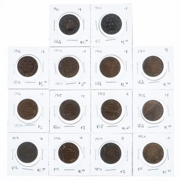 Group of (14) Coins, Canada Large Cents - 1901-192