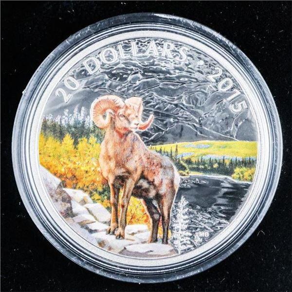 RCM - 2015 .999 Fine Silver $20.00 'BIGHORN SHEEP'