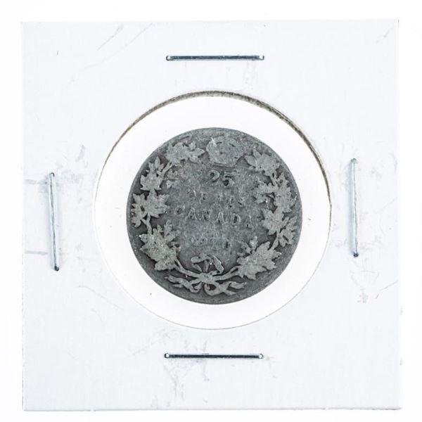 Canada 1910 Silver 25 Cents