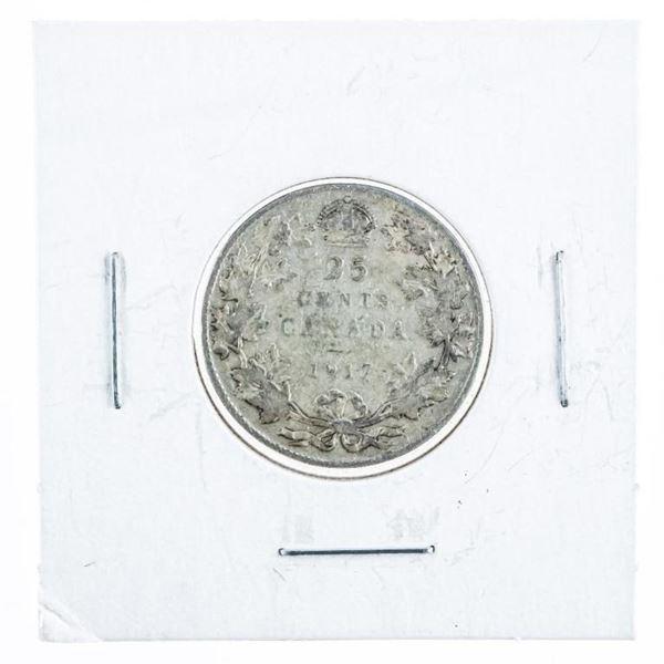 Canada 1917 Silver 25 Cents