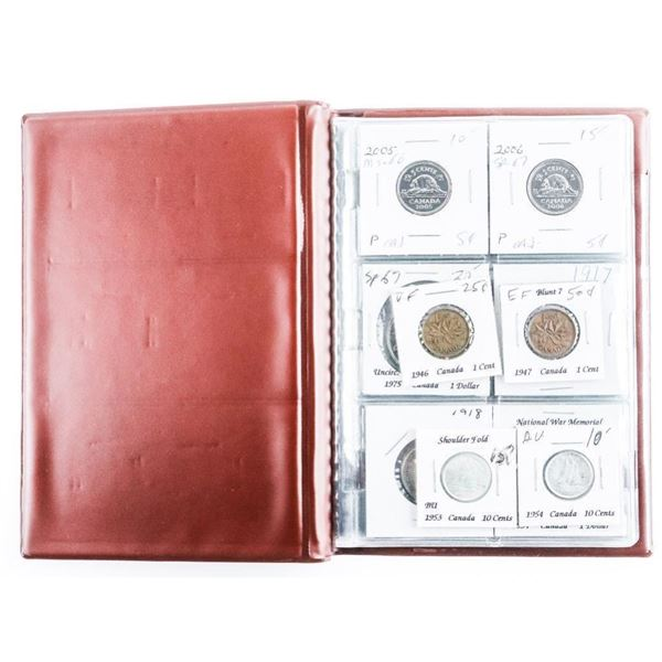 Coin Stock Book (12) CANADA Coins with Silver