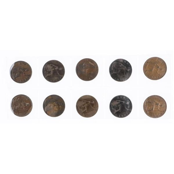 Group of (10) Great Britain 1 Penny Coins