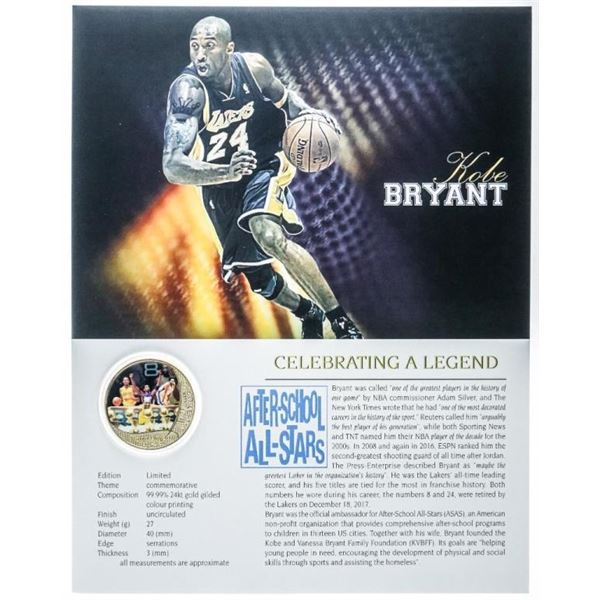Kobe Bryant Collectible Medallion 24kt Gold Foil