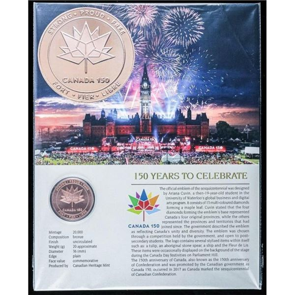 Canada 150 Sold Out Bronze Medallion on Art Card.