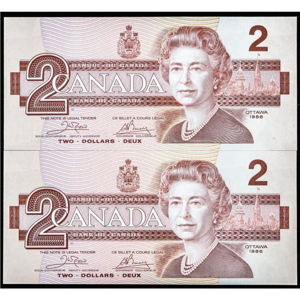 Lot of (2) Bank of Canada 1986 'GEM' (AUH) 2.00 in