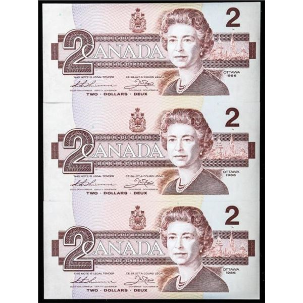 Lot of (3) Bank of Canada 1986 2.00 In Sequence (C