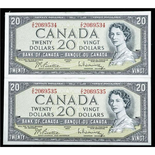 Bank of Canada 1954 20.00 (2) in Sequence BC-41b G