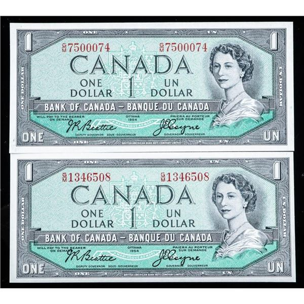 Bank of Canada 1954 1.00 (2) in Sequence BC37a.1