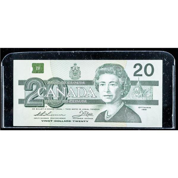 Bank of Canada 1991 20.00 No Serifs (EF)