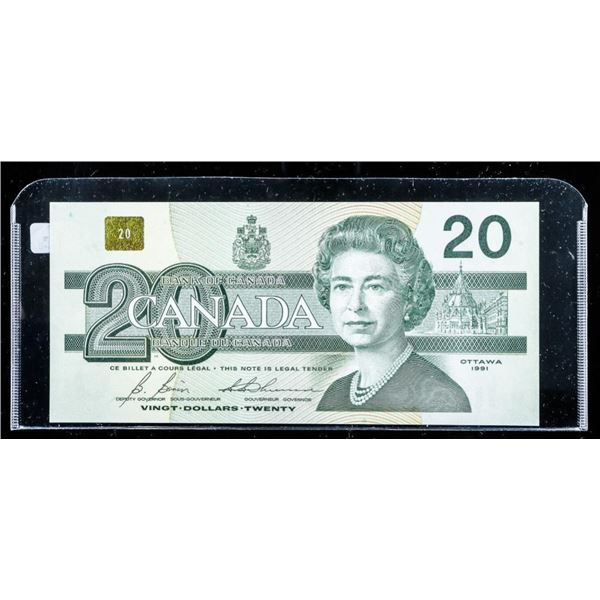 Bank of Canada 1991 20.00 with BPN BC-58b UNC