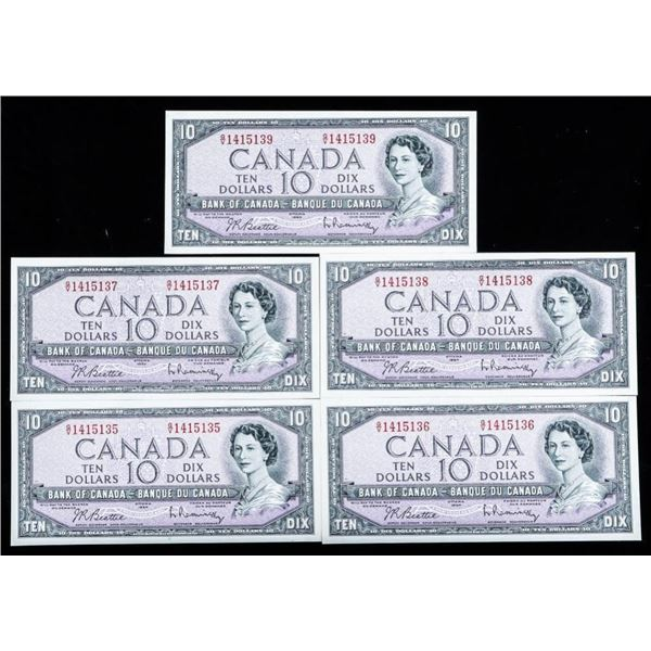 Group of (5) Bank of Canada 1954 10.00 UNC In Sequ