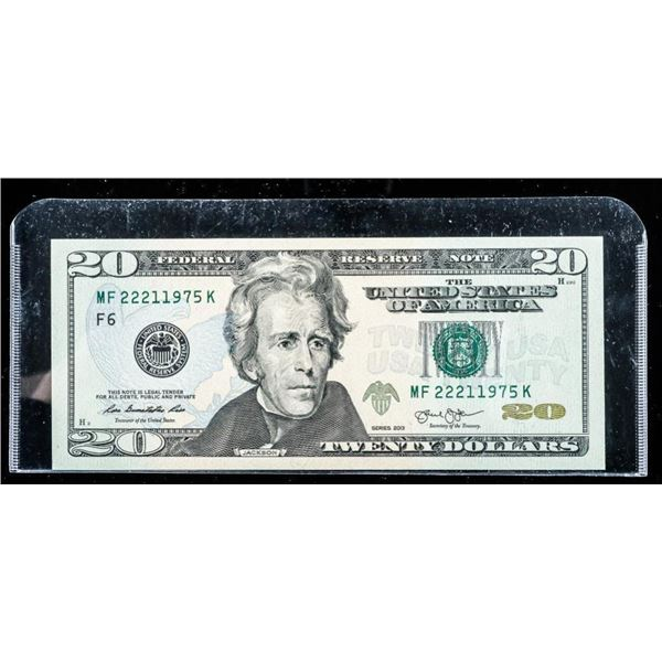 Federal Reserve Note Series 2013 USA 20.00 UNC Gre