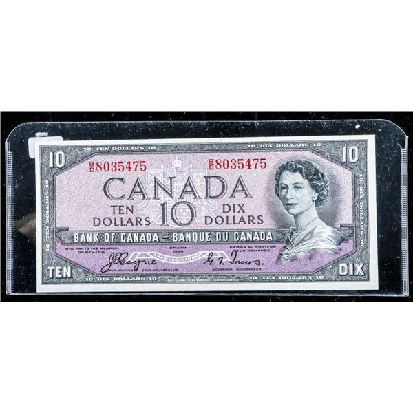 Bank of Canada 1954 10.00 Devil's Face (B/D) C/T B