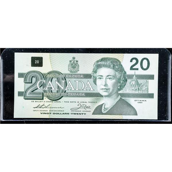 Bank of Canada 1991 20.00 W/O Serifs Choice UNC