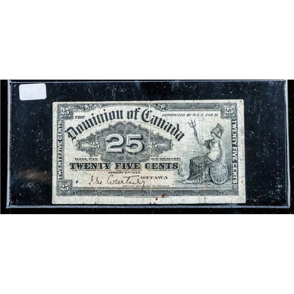 Dominion of Canada 1900 Shinplaster 25 Cent 'Court
