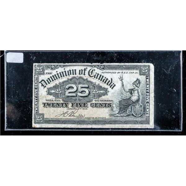 Dominion of Canada 1900 Shinplaster 25 Cent 'Bovil