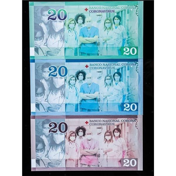 Lot (3) Coronavirus '20' Notes, First Issue in Wor