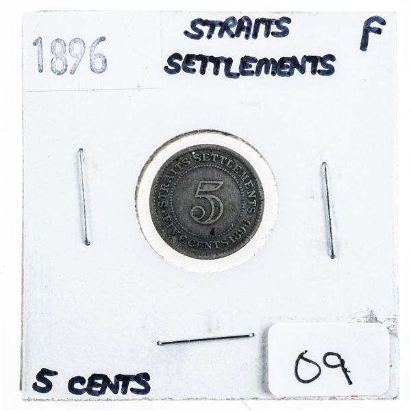 1896 Straits Settlement 5 Cents. (F)